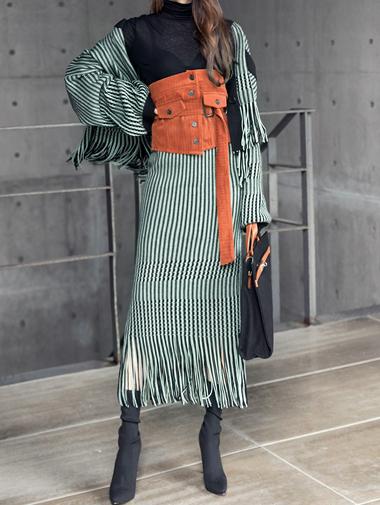 SK1772ユニークブレイドカラーニットスカート