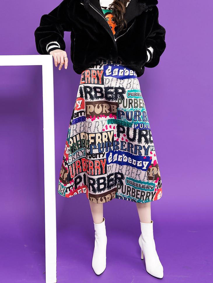 SK1825ユニークレタリングこのラインスカート
