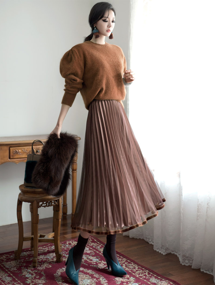 SK1599ラインベルベットプリッツスカート(53次再入庫)