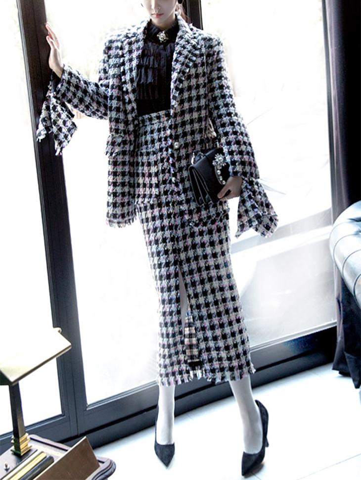 SK1616シェーズカットツイードミックススカート