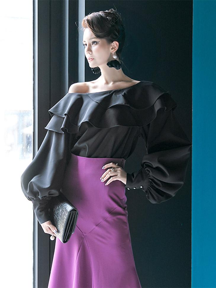 B9013ダブルラインラッフルパフブラウス「SKYキャッスルジンジンフイファッション」