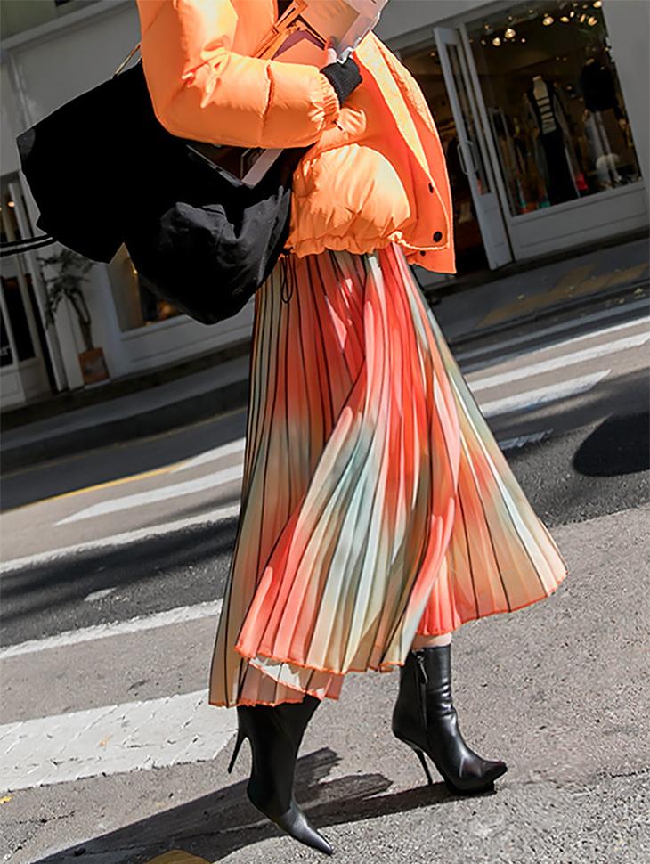 SK1797グラデーションカラープリッツスカート「SKYキャッスルジンジンフイファッション」