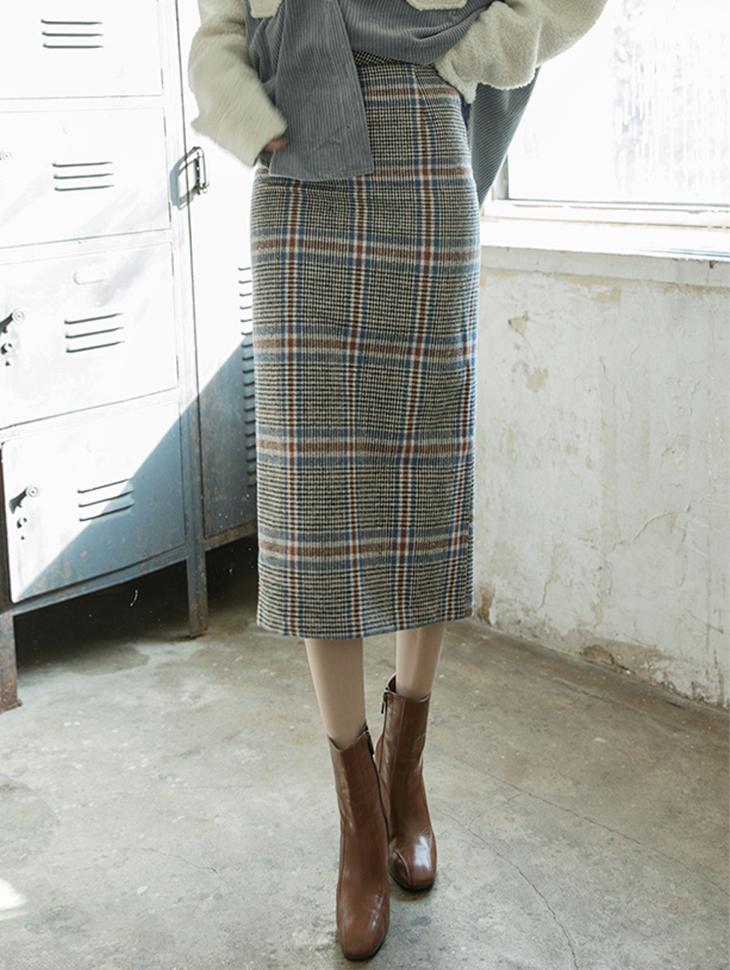 SK1808チェックミックスウールペンシルスカート