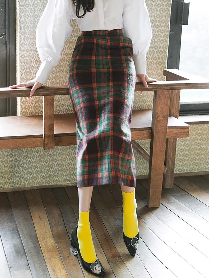 SK1829チェックミックスロングスリムスカート