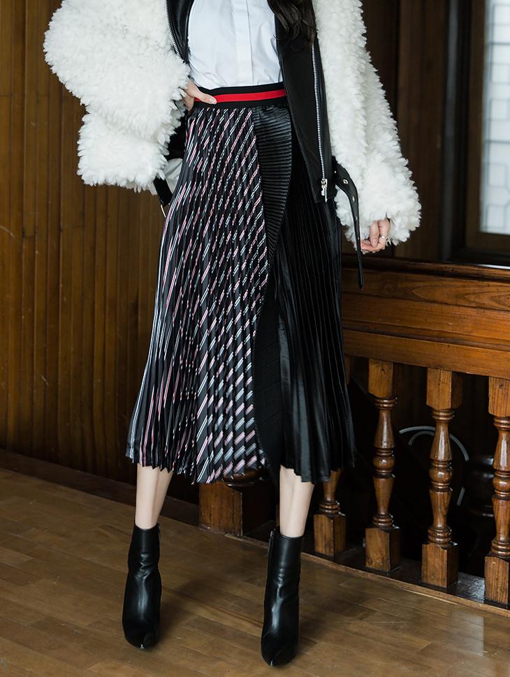 SK1830パタンミックスプリッツロングスカート