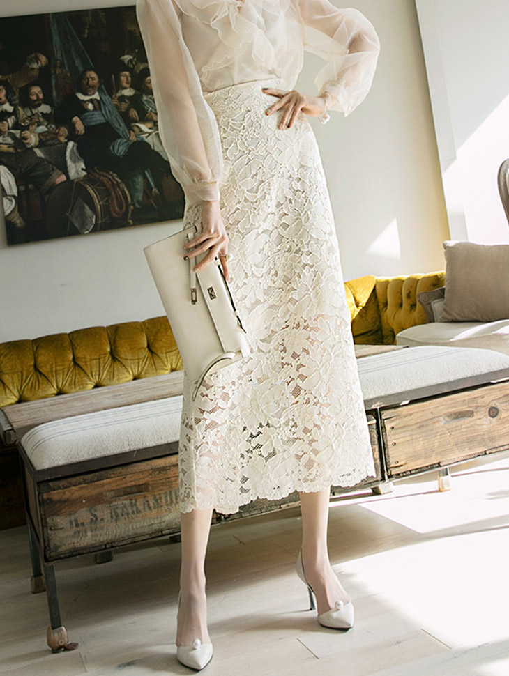 SK1840オデリーフラワー刺繍スカート