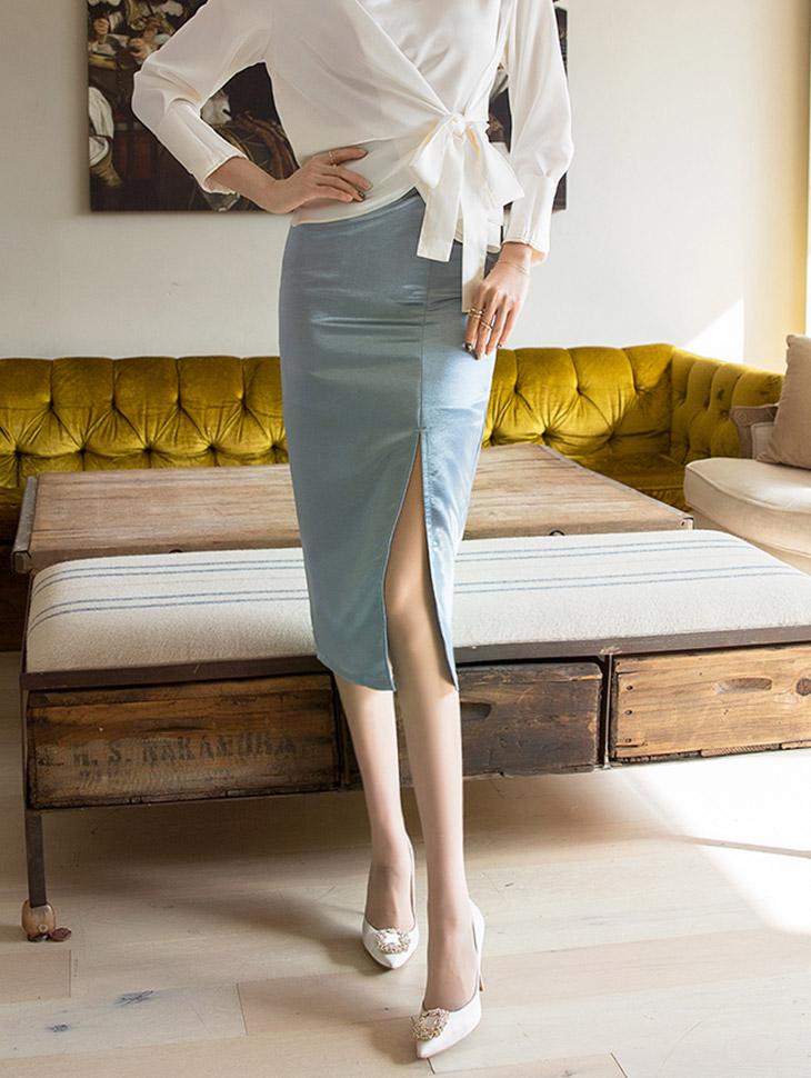 SK1838プロピレンサテンスリットスカート