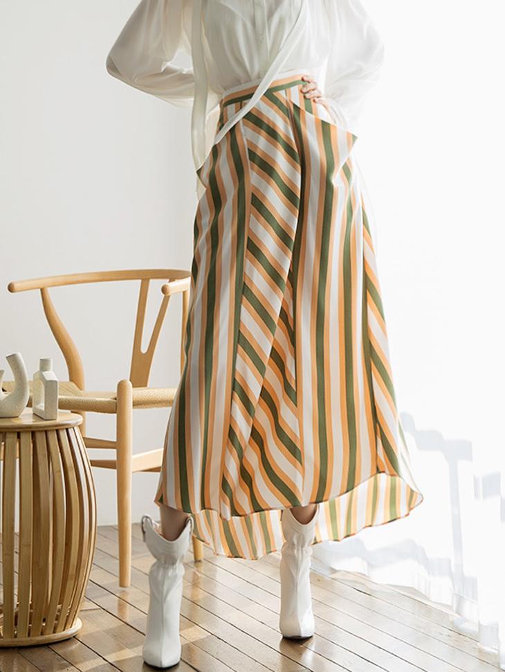 SK1843ブリーズストライプウェーブスカート
