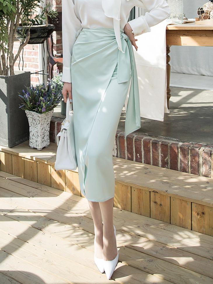 SK1848クペルサテンラップスカート