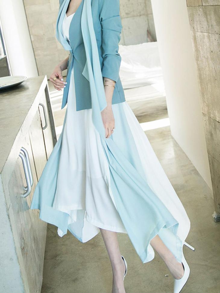 SK1870アヴェーヌアンバランス配色スカート・Lサイズ製作*(9次再入庫)