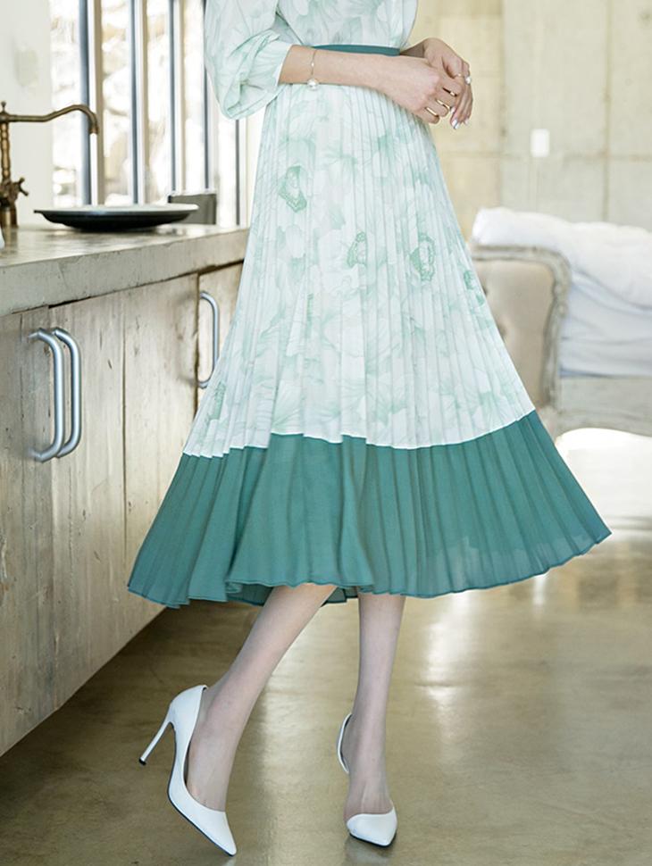 SK1866クラシックフラワープリッツスカート