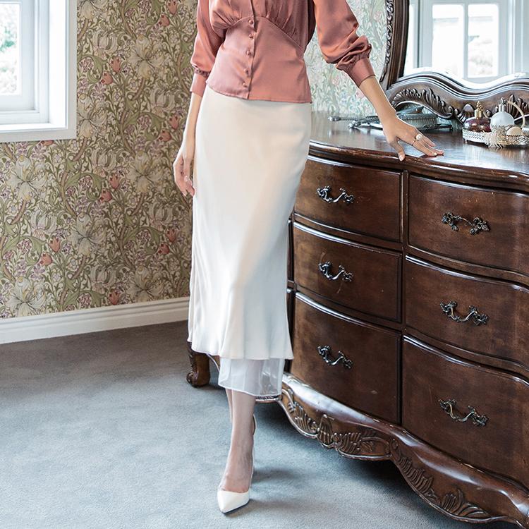 SK1927ソフトシルキーシースルー配色スカート
