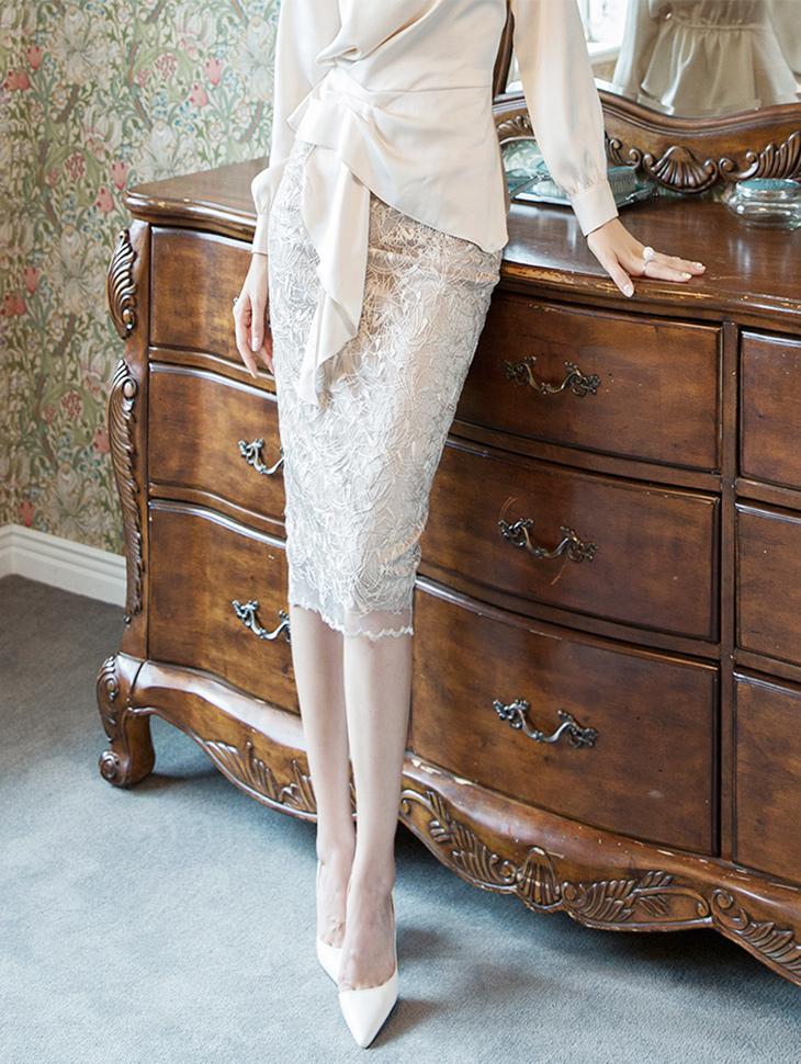 SK1923フェミニンシースルーレーススカート