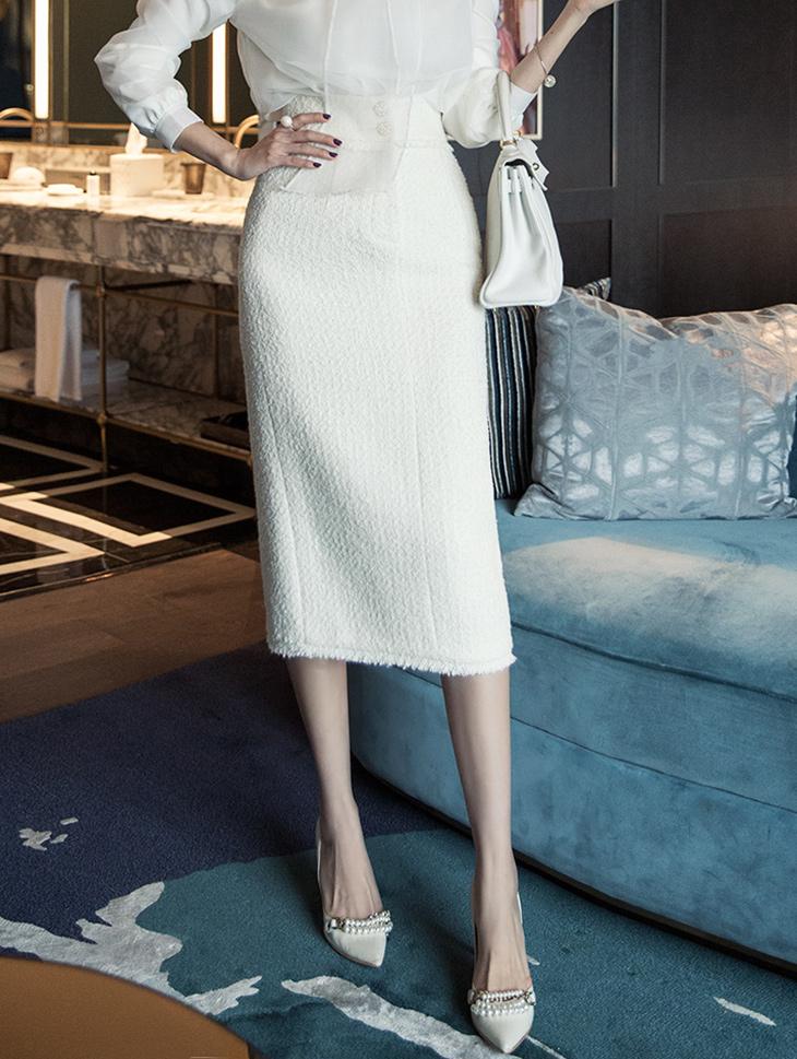SK1952セールランゴールドボタンHラインウールスカート