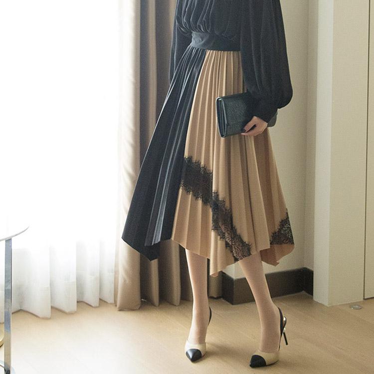 SK1964ハーフ配色プリーツレーススカート