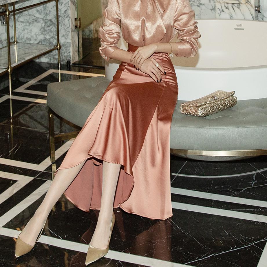 SK1971 メールソチンサテンロングスカート