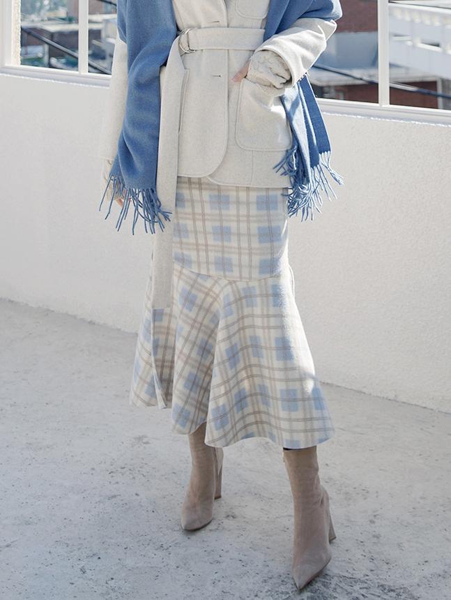 SK1977 マーメイドサイドスリットチェックウールスカート
