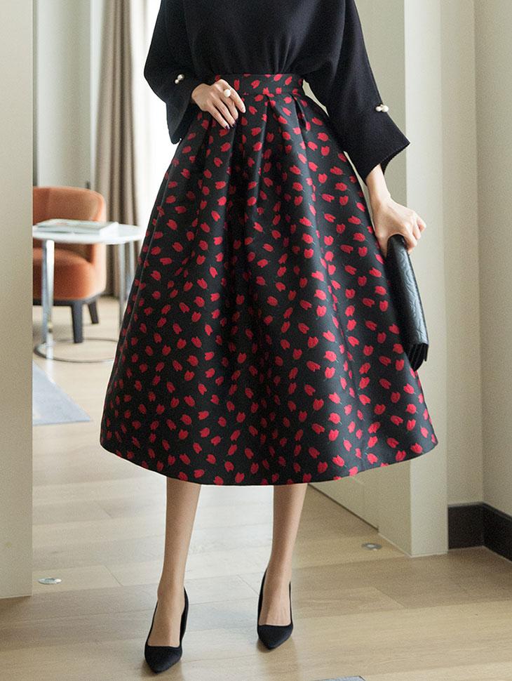 SK1963ブルームパターンフラワーボリュームスカート