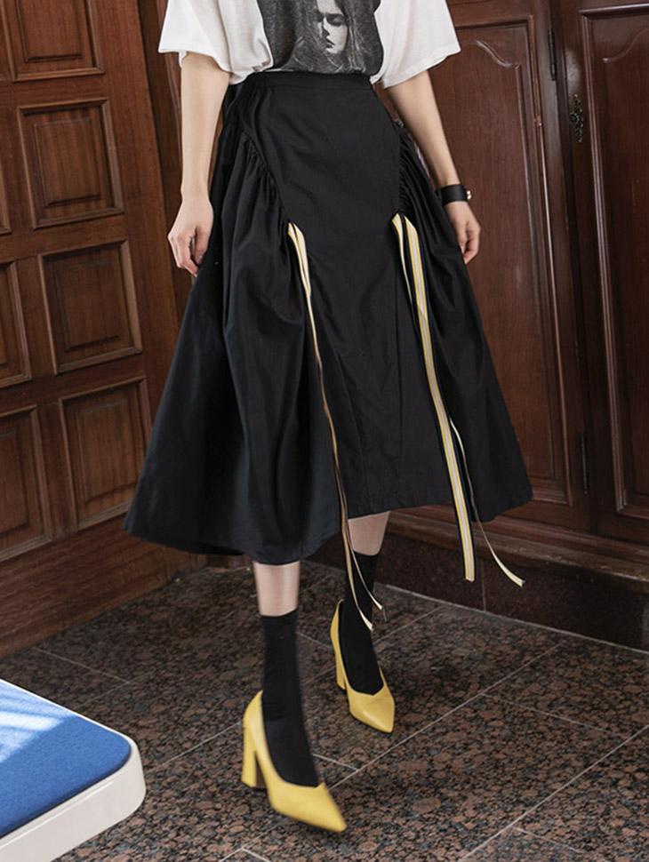 SK2026 ケントストリング配色ツーポケットスカート