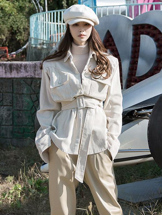 S348 ウィローコーデュロイシャツ(ベルトセット)韓国