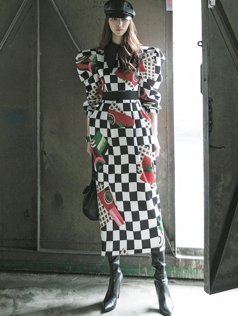 D9125 プランシービッグカラー捺染ミックスパフワンピース韓国