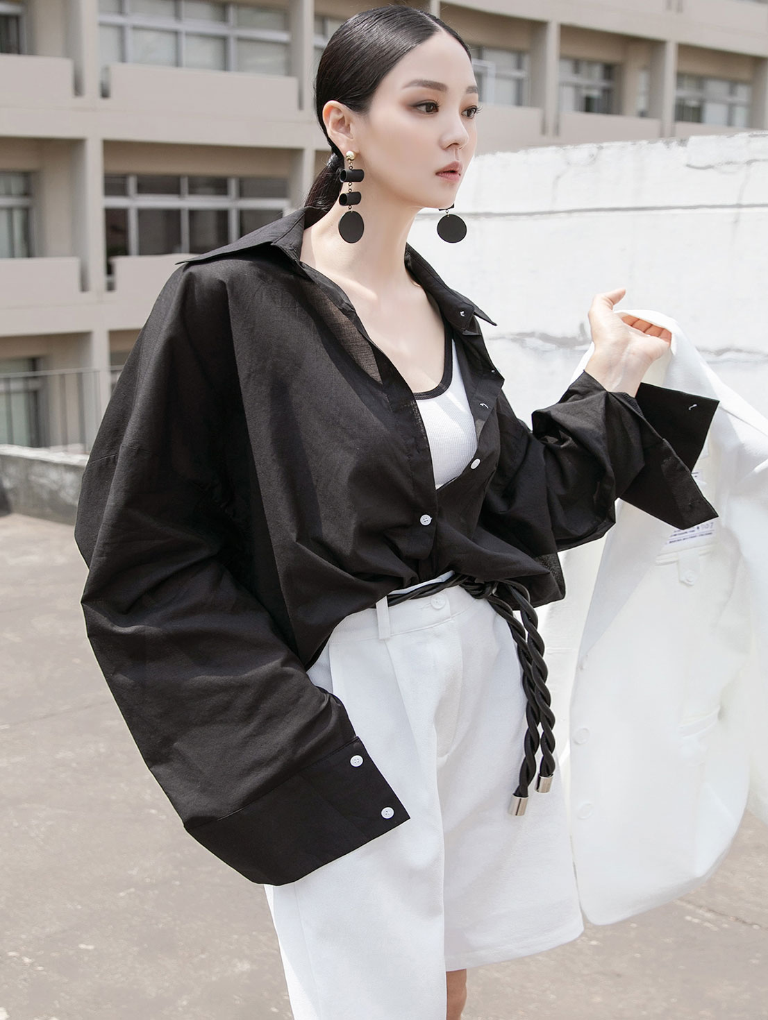 S379 シースルーオーバーフィットシャツ韓国
