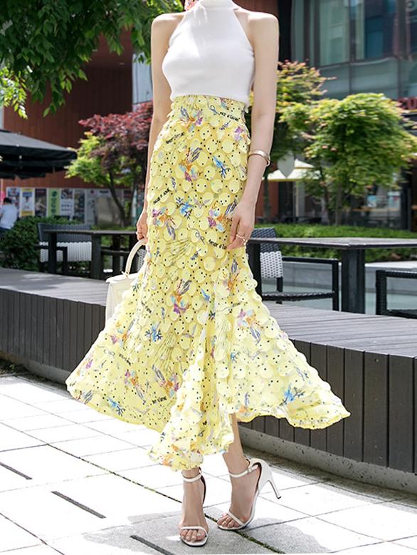 SK9005ラウンドライブイラストスカート (7th Reorder)韓国
