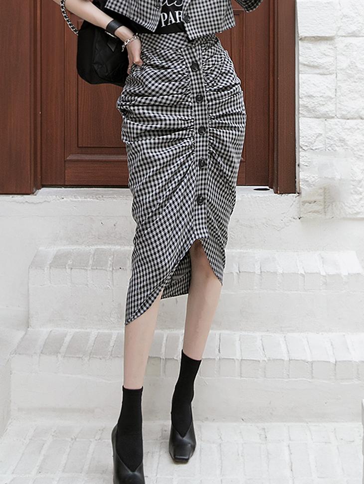 SK2086 チェックパターンシャーリングスカート韓国