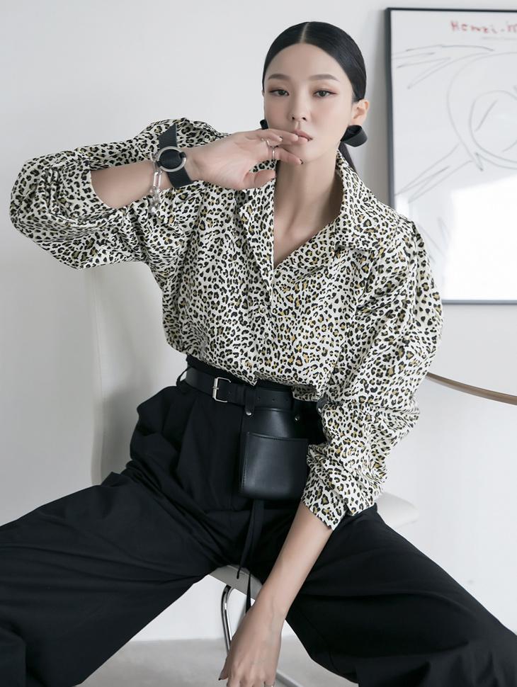 S390 レオパードピンタックパフシャツ韓国