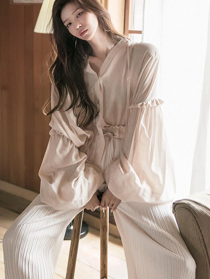 S400 スリーブピンタックストリングシャツ韓国