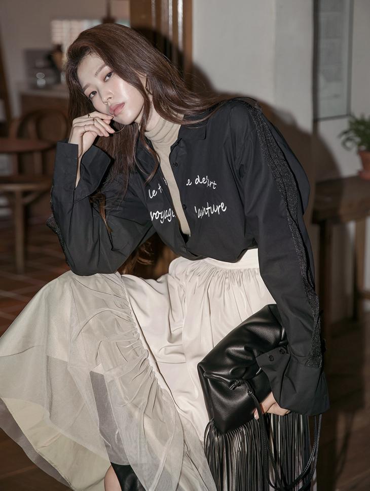 S401 スリーブポイントレターリングシャツ韓国