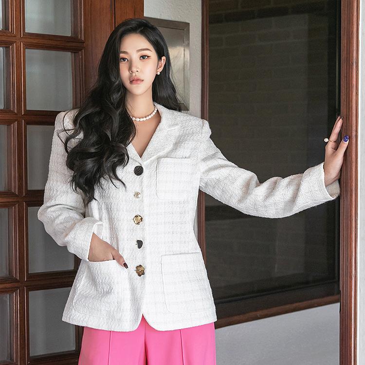 J1324 ツイードボタンポイントパッドシングルジャケット韓国